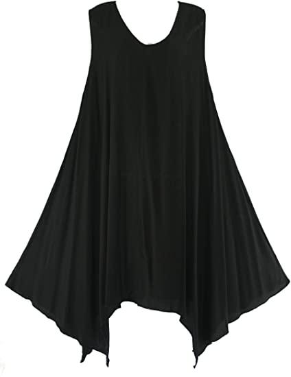 Beautybatik Black Solid Basic Flowy Summer Sleeveless Long Tank .