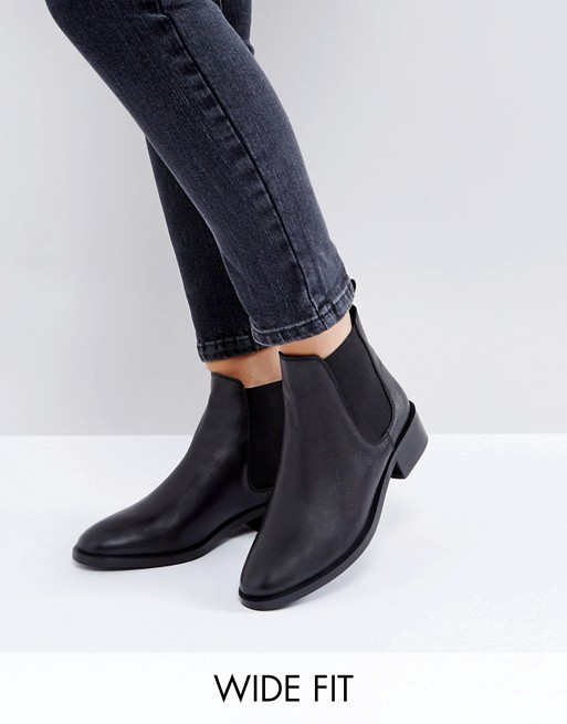 ASOS ABSOLUTE Wide Fit Leather Chelsea Ankle Boots | AS