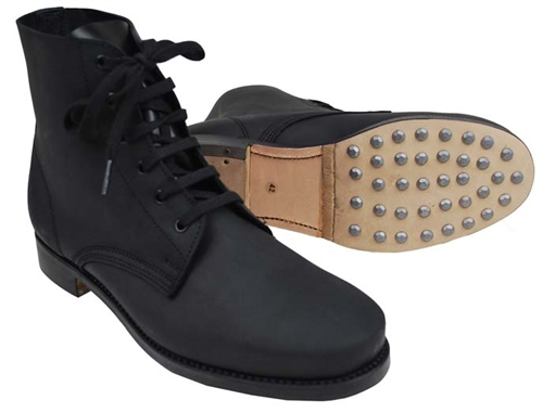 Black Low Boots with hobnails w/ Heavy Duty Sol