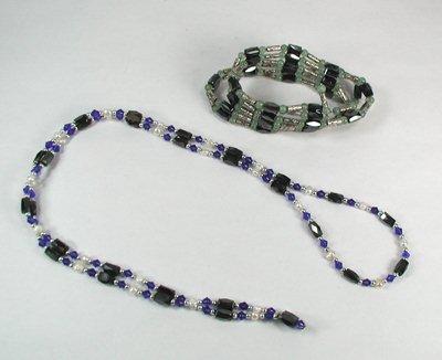 Two magnetic hematite necklace-bracele