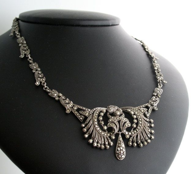 Vintage Marcasite Necklace - 1930s Silver and Marcasite Necklace .