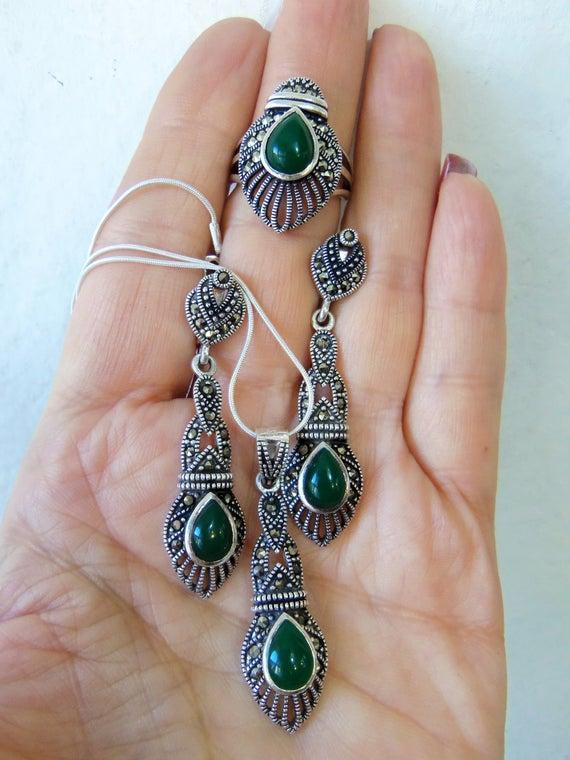 MARCASITE JEWELRY armenian jewelry green stone marcasite | Et
