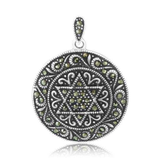 Marcasite Jewelry Star Pendant Necklace - Star of David - Aharo