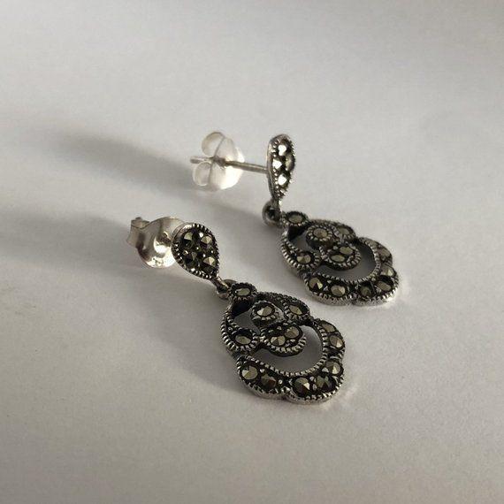 Marcasite Earrings Laura, Sterling Silver Earrings, Marcasite .