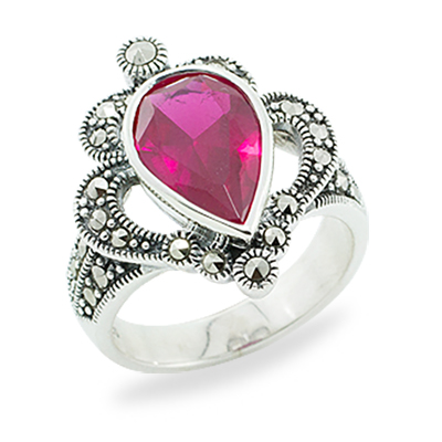 Ruby Pear & Vintage Scroll Marcasite Ring - Wholesale Marcasite .