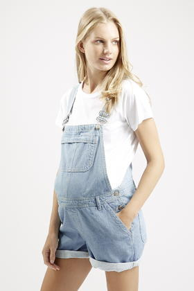 TOPSHOP Maternity Short Dungarees in Bleach (Blue) - Ly