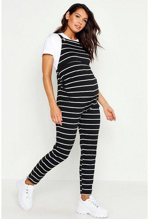 Maternity Stripe Overall | boohoo in 2020 | Maternity wear .
