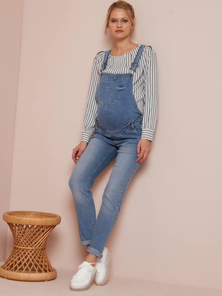 Maternity Dungarees in Stretch Denim - blue medium wasched .