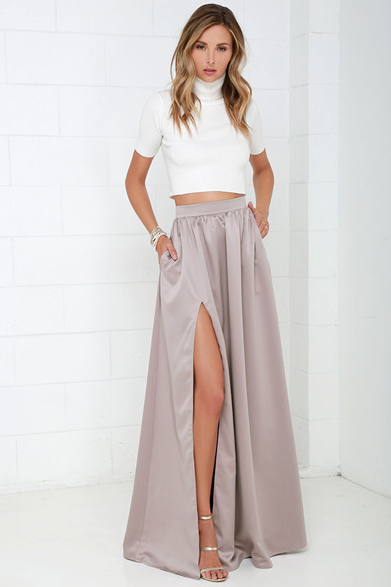 Beautiful Taupe Skirt - Maxi Skirt - Slit Skirt - $62.