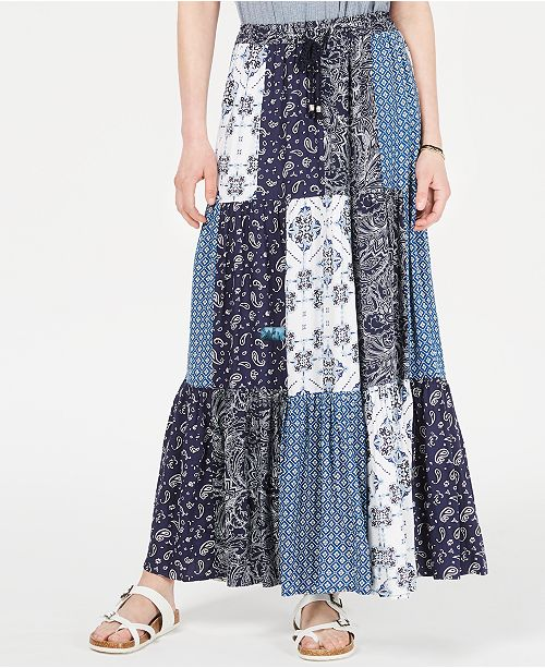 Style & Co Bandana Mixed-Print Patchwork Maxi Skirt, Created for .