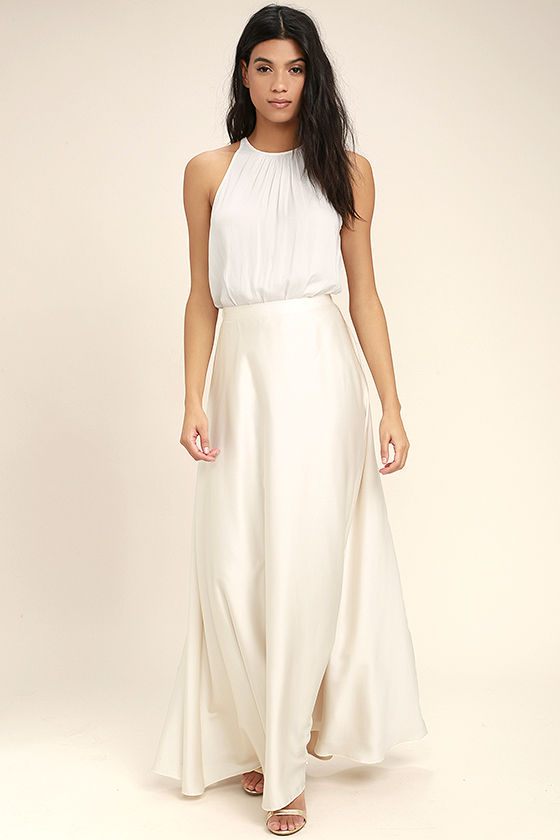 Lovely Cream Skirt - Satin Skirt - Maxi Skirt - $62.