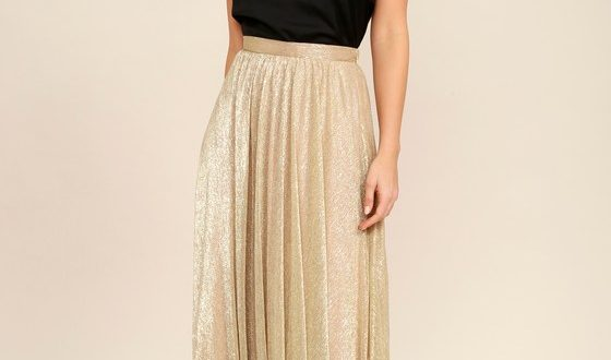 Chic Gold Maxi Skirt - Metallic Skirt - Metallic Maxi Ski