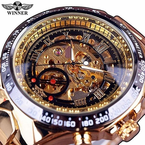 Stainless Steel Winner Men's Skeleton Mechanical Watch | Ge