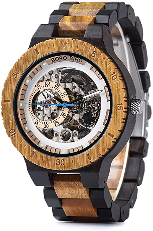 Amazon.com: Mens Wooden Mechanical Watches Automatic No Battery .