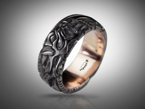 BLACK FENRIR ( gold 585 ) - Viking ring, fenrir ring, fenrir wolf .