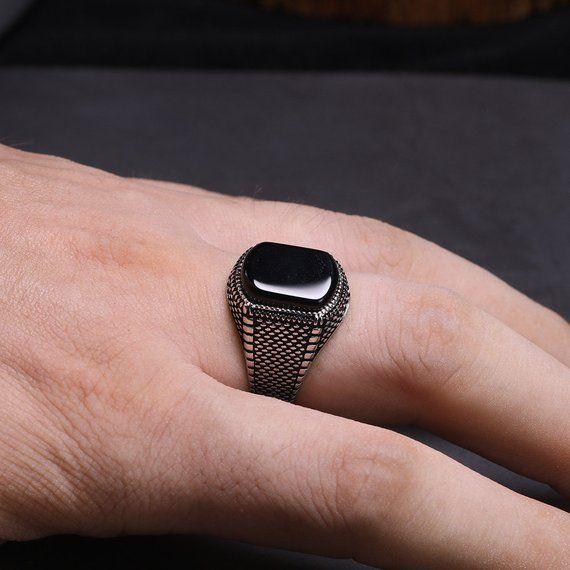Mens ring/Rings for men/obsidian ring/man silver ring /christmas .