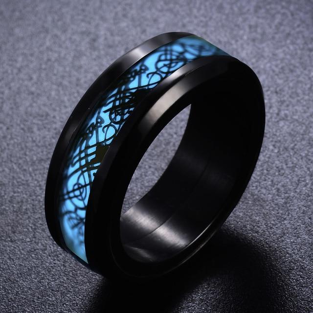 Black Blue Color Carbon Fiber Dragon Stainless Steel Men Ring .