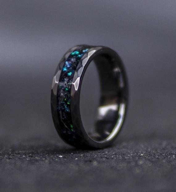 mens opal ring. Galaxy opal. Tungsten ring for men. meteorite opal .
