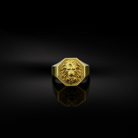Gold Lion Men Ring Signet Men Rings Gold Lion Head Men Ring   Et