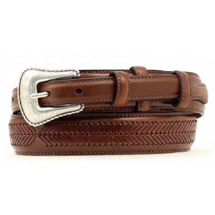 N24768-02 Brown Leather Whip Stitch Ranger Mens Bel