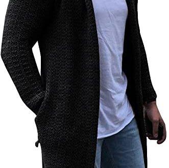 Betoyshow Men's Cardigans Casual Long Sleeve Shawl Collar .