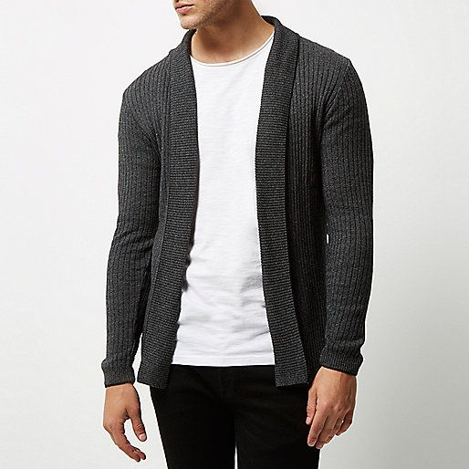 Dark grey ribbed muscle fit cardigan - cardigans - jumpers .