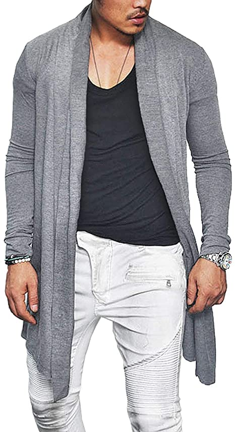 EastLife Mens Open Front Cardigans Lightweight Cotton Shawl Collar .
