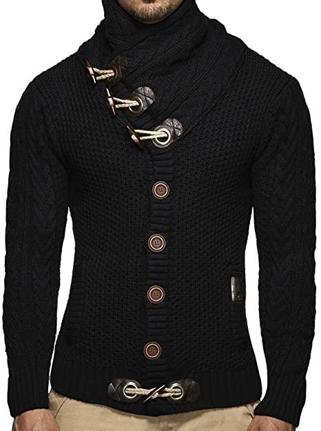 Taoliyuan Mens Cardigans Sweaters Turtleneck Slim Fit Cable Knit .