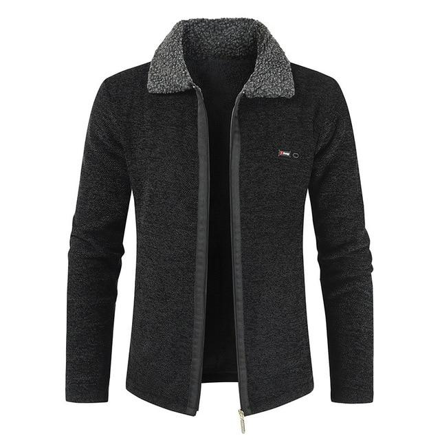 Winter Mens Coat and Jackets Solid Slim Fit Thick Fur Wool Coats .