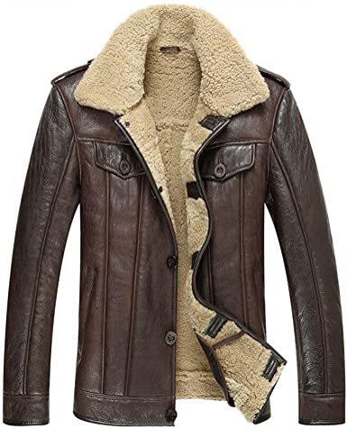 Leather Jacket Men Shearling Coat Mens Sheepskin Fur Coat Pilot .