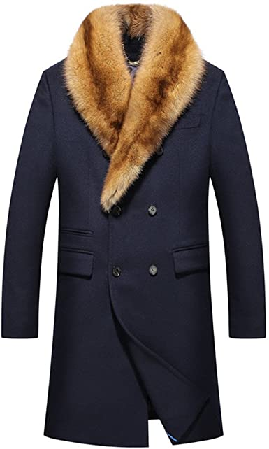 Denny&Dora Most Luxurious Mens Cashmere Long Coat Mink Fur Collar .