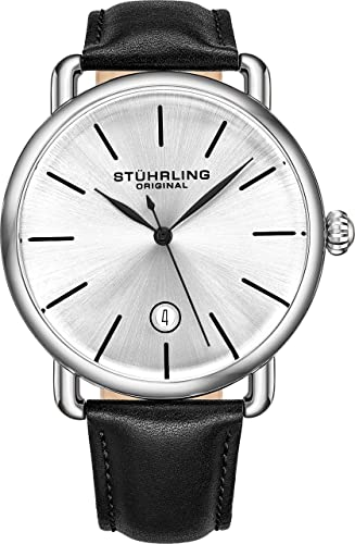 Amazon.com: Stuhrling Original Mens Watch Calfskin Leather Strap .