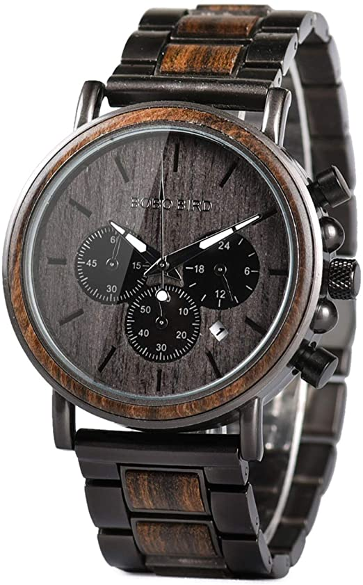 Amazon.com: Mens Wooden Watches Luxury Stainless Steel Quartz .