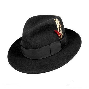 Mens Black Fedora Hat 100% Wool Untouchable Dress Hat 83