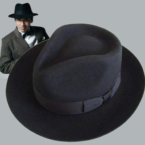 Black Wool Mens Winter Dress Fedora Hats for Men Sale SKU-159013 .