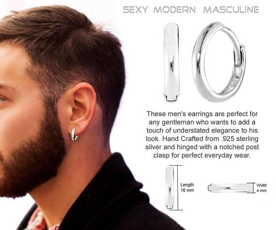 Mens Earrings REAL Sterling SILVER 16 mm Hoop | Men earrin
