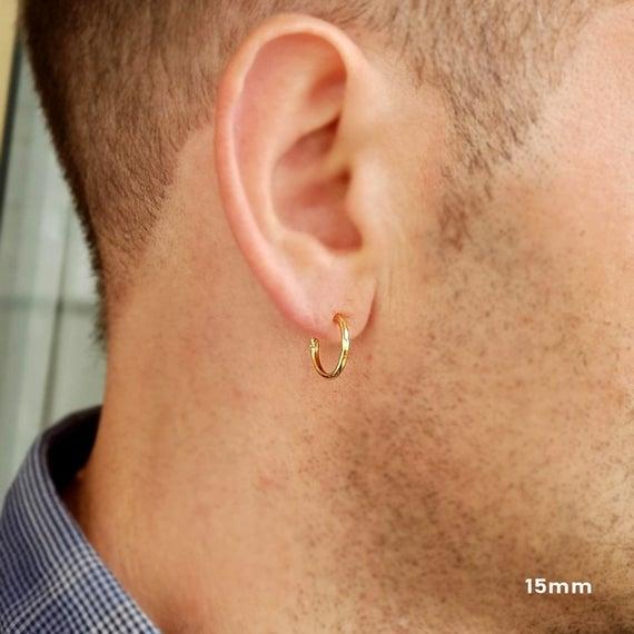 Sterling Silver hoop earrings for men Earrings for men Mens | Et