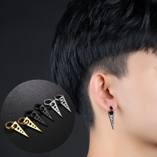 1Pair Fashion Personality Triangle Titanium Steel Earrings Men .