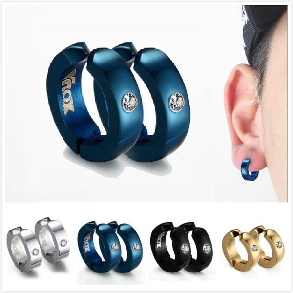1 PCS Mens Earrings Stainless Steel Clip on Earrings Hoop Huggie .