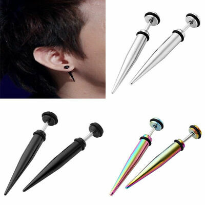 Pair 16G Stainless Steel Spike Taper Fake Cheater Ear Plug Mens .