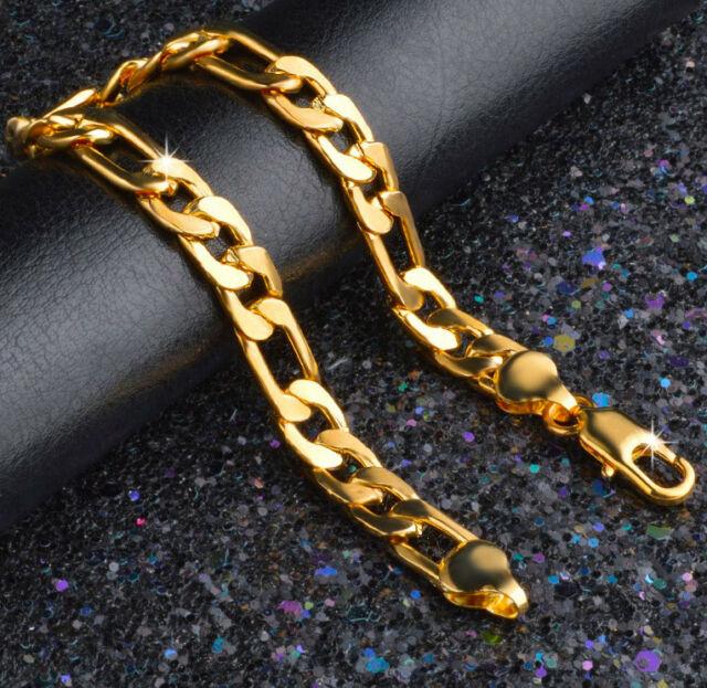 24k Gold Bracelets Men's Bold Figaro Style Cuban Link Chain Giftpk .