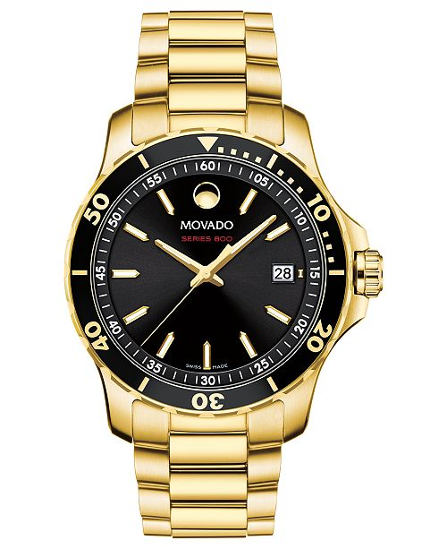 Movado Men's Swiss Series 800 Gold-Tone PVD Stainless Steel .