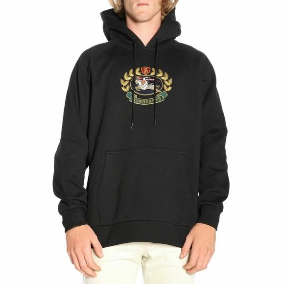 Burberry Sweaters | London Mens Hoodie Black Cotton | Poshma