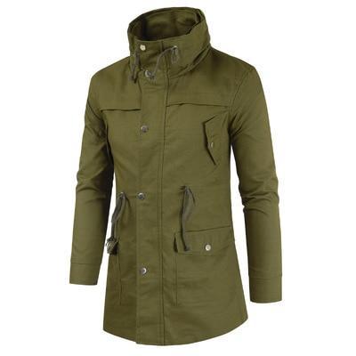 Men Jacket Fashion Causal Cotton slim Long Jackets Mens Military .