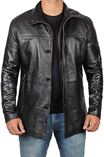 Mens Leather Jacket - Black Real Lambskin Leather Jackets for Mens .
