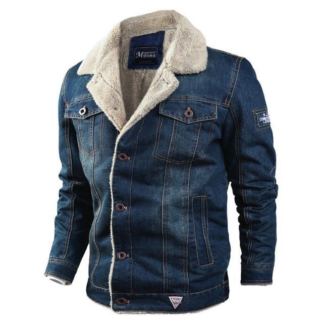 VOLGINS Brand Denim Mens Jacket Autumn Winter Military Jeans .