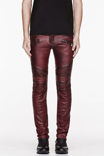 Balmain Burgundy Leather Worn and Reinforced Biker Pants #men .