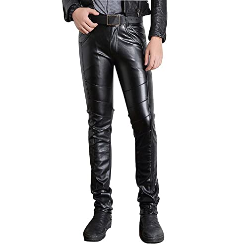 Mens Black Leather Pants: Amazon.c