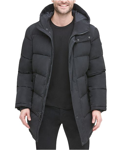 DKNY Men's Quilted Water Resistant Hooded City Full Length Parka .