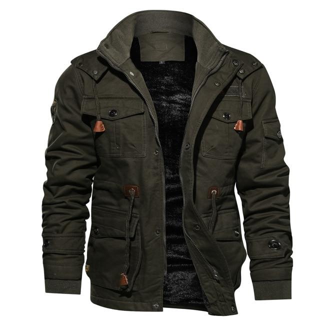 Mens Parka Jacket Winter Fleece Multi pocket Casual Quilted Jacket .